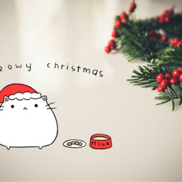 freetoedit christmas kitty cat kawaii