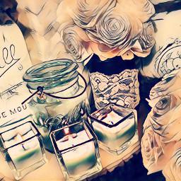 vintage candles masonjars distressed woodflowers freetoedit