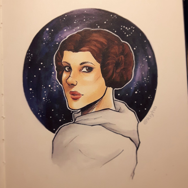 Our princess, our hope, our heroine 🌹🌌  Princess Leia Organa, my tribute to Carrie Fisher, who recently passed away.  #princessleia #leiaorgana #starwars #ripcarriefisher #theforceiswithher  #drawing #art #artist #artwork #sketchbook #marker #markerart #owncharacter #oc #manga #mangadrawing #animedrawing #comicartist #comicart