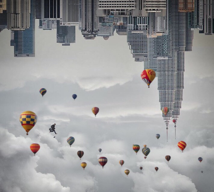#freetoedit#myedit#myremix#edited#airballoons#city#clouds#sky#man#upsidedown