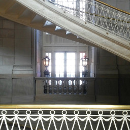 stairs windows lamps marble architecture