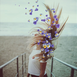 freetoedit floatingflowers longhair girl vintageeffect