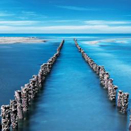 beautiful blue sea road ocean